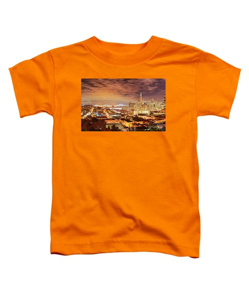 Night Panorama Of San Francisco And Oak Area Bridge From Ina Coolbrith Park - California Toddler T-Shirt