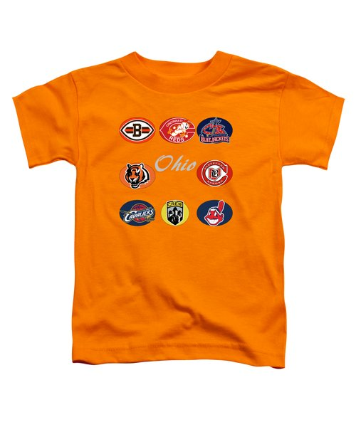 Ohio Professional Sport Teams Collage Toddler T-Shirt by Movie Poster Prints