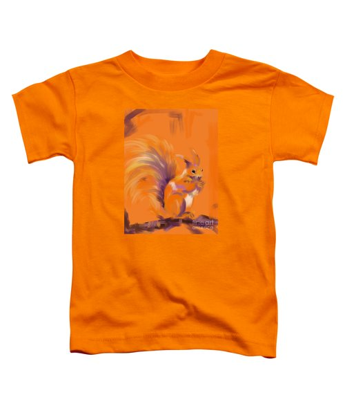 Toddler T-Shirt featuring the painting Orange Forest Squirrel by Go Van Kampen