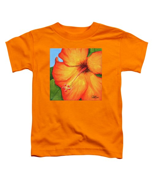 Orange Hibiscus Flower Toddler T-Shirt