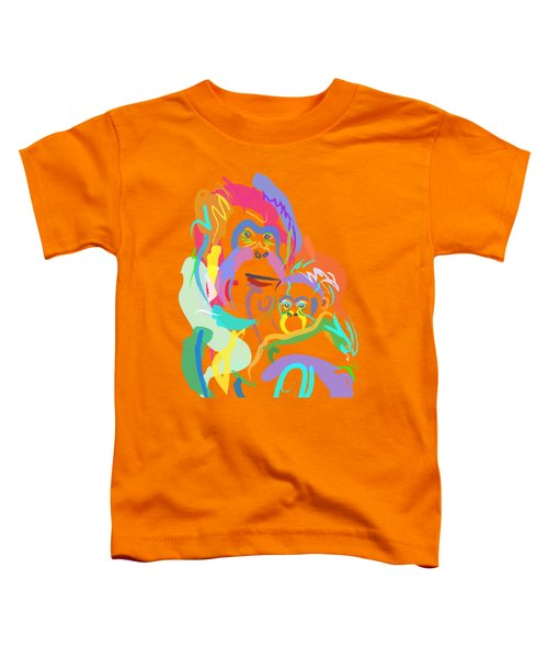 Toddler T-Shirt featuring the painting Orangutan Mom And Baby by Go Van Kampen