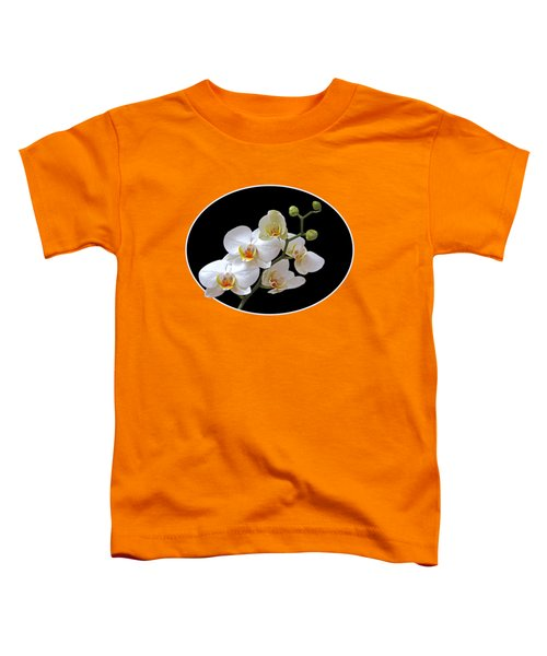 Orchids On Black And Orange Toddler T-Shirt by Gill Billington