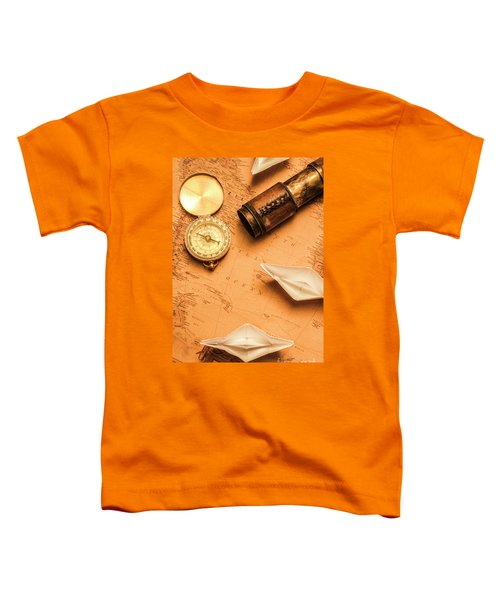 Origami Paper Boats On A Voyage Of Exploration Toddler T-Shirt