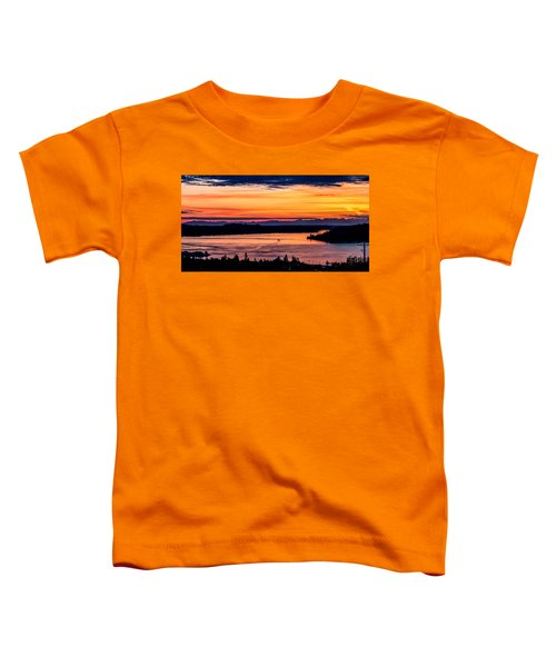 Panoramic Sunset Over Hail Passage E Series On The Puget Sound Toddler T-Shirt