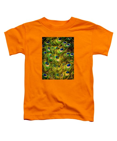 Toddler T-Shirt featuring the photograph Peacock Tails by Rikk Flohr