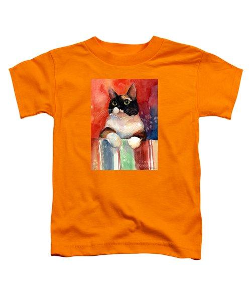 Pensive Calico Tubby Cat Watercolor Painting Toddler T-Shirt by Svetlana Novikova