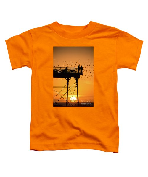 People On The Pier Sunset And Starlings In Aberystwyth Wales Toddler T-Shirt