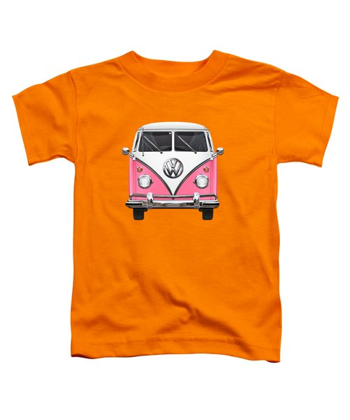 Pink And White Volkswagen T 1 Samba Bus On Yellow Toddler T-Shirt by Serge Averbukh