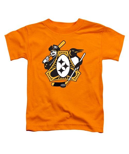 Pittsburgh-three Rivers Roar Sports Fan Crest Toddler T-Shirt