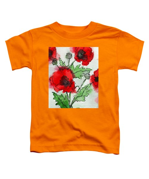 Watercolor Poppies Toddler T-Shirt