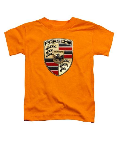 Porsche - 3d Badge On Yellow Toddler T-Shirt