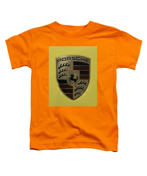 Porsche Emblem On Racing Yellow Toddler T-Shirt
