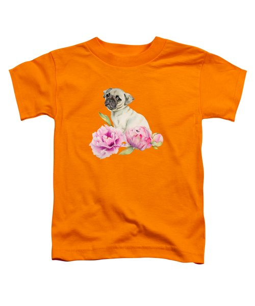 Pug And Peonies - Watercolor Illustration Toddler T-Shirt