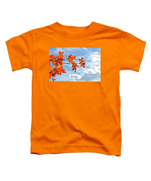 Sky View With Autumn Maple Leaves Toddler T-Shirt