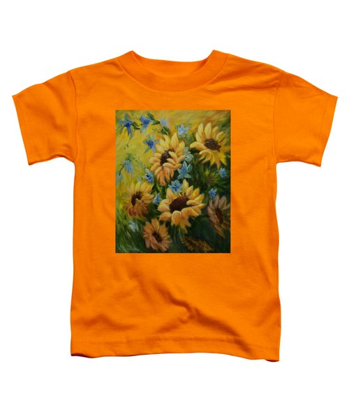 Toddler T-Shirt featuring the painting Sunflowers Galore by Joanne Smoley