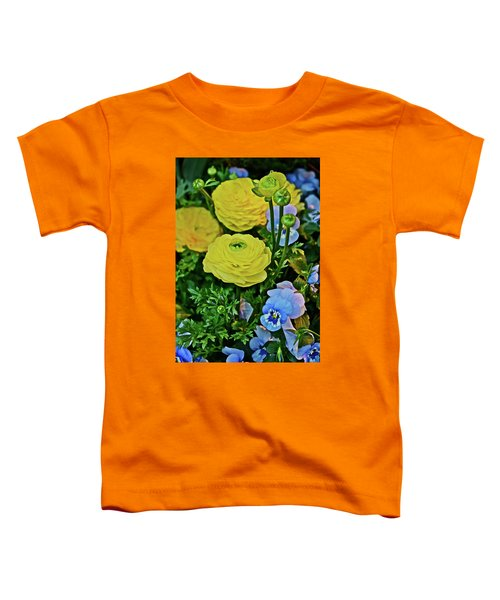 Spring Show 18 Persian Buttercup With Horned Viola Toddler T-Shirt