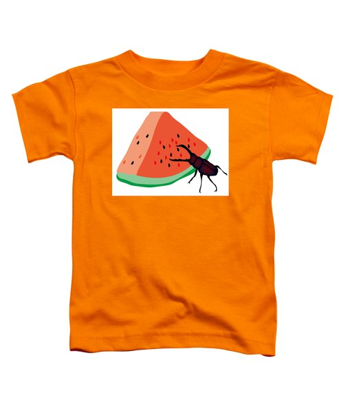 Stag Beetle Is Eating A Piece Of Red Watermelon Toddler T-Shirt
