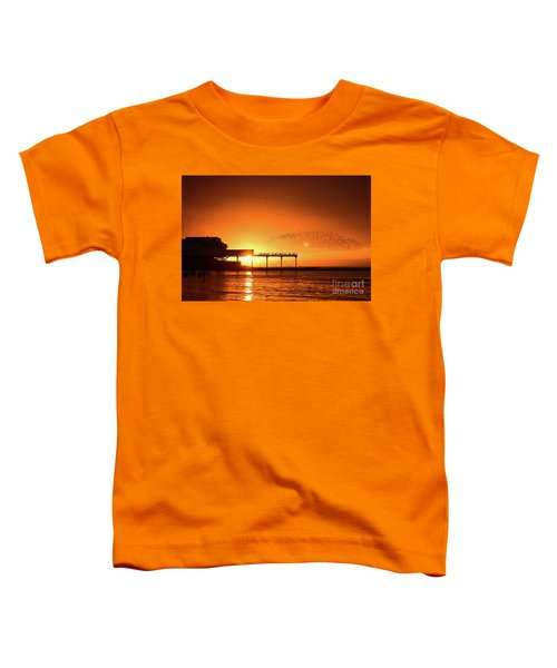 Starlings At Sunset Over Aberystwyth Pier Toddler T-Shirt