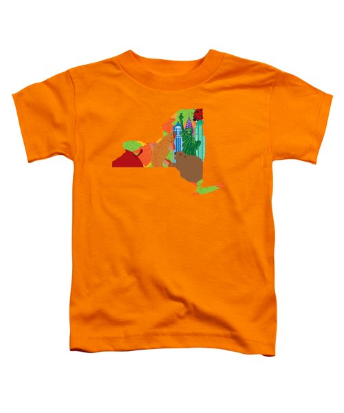 State Of New York Official Map Symbols Toddler T-Shirt by Jit Lim