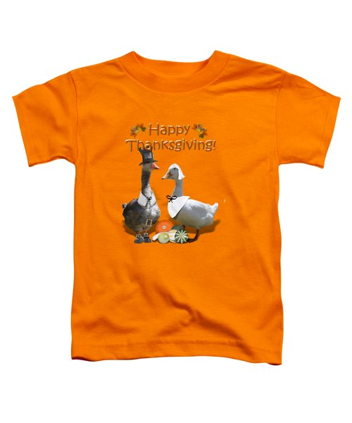 Thanksgiving Pilgrim Ducks Toddler T-Shirt by Gravityx9 Designs