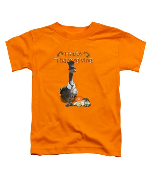 Thanksgiving Pilgrim Goose Toddler T-Shirt by Gravityx9  Designs