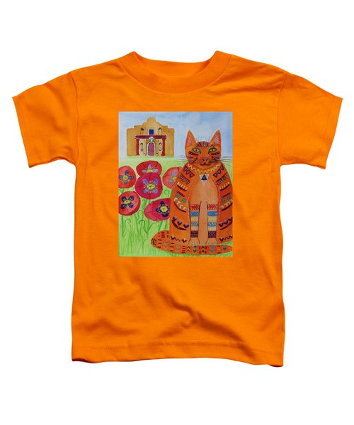 the Orange Alamo Cat Toddler T-Shirt