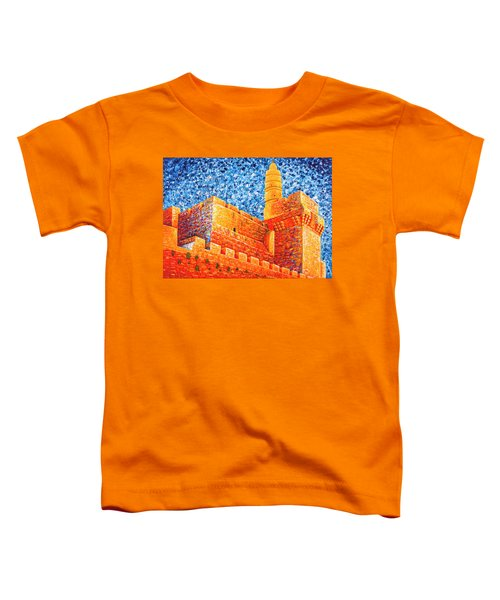 Toddler T-Shirt featuring the painting Tower Of David At Night Jerusalem Original Palette Knife Painting by Georgeta Blanaru