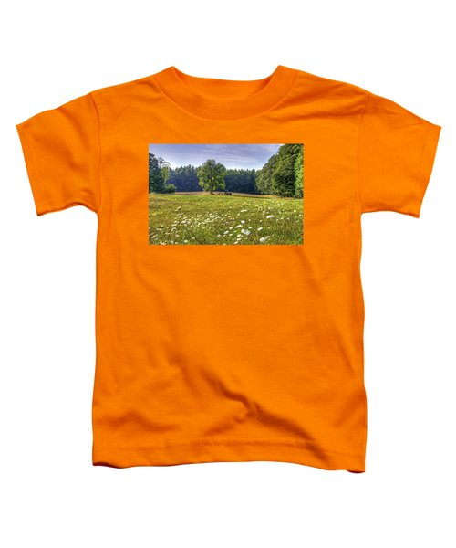 Tractor In Field With Flowers Toddler T-Shirt
