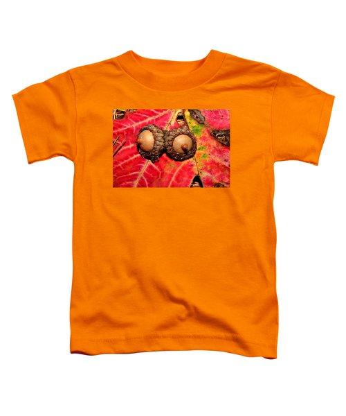 Two Acorns On Tatterd Maple Leaf 2 Toddler T-Shirt