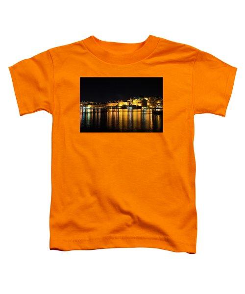 Velvety Reflections - Valletta Grand Harbour At Night Toddler T-Shirt