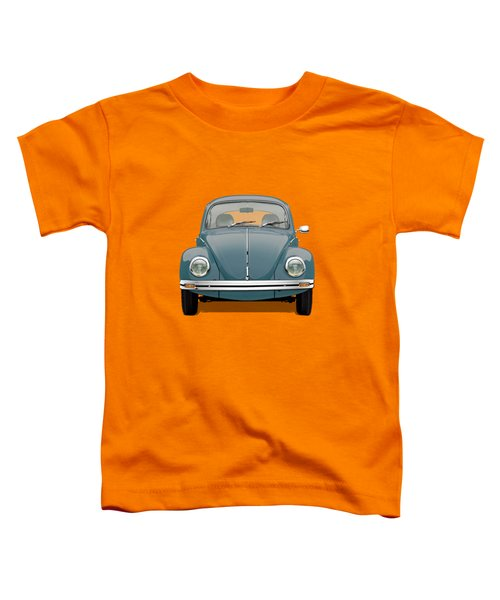 Volkswagen Type 1 - Blue Volkswagen Beetle On Yellow Canvas Toddler T-Shirt
