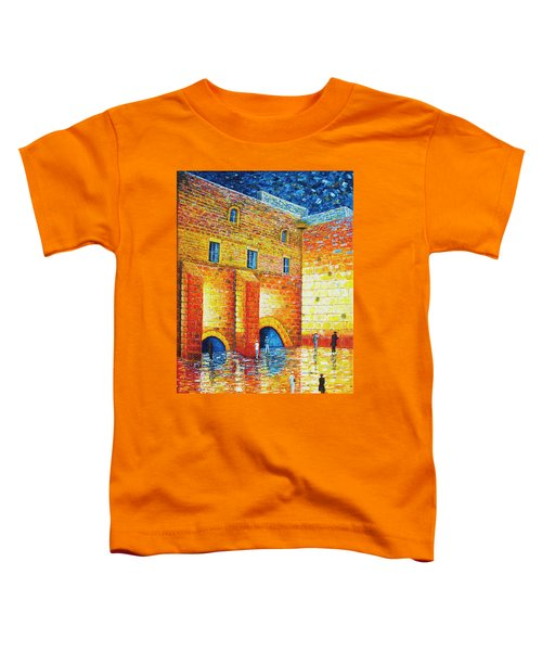 Toddler T-Shirt featuring the painting Wailing Wall Original Palette Knife Painting by Georgeta Blanaru