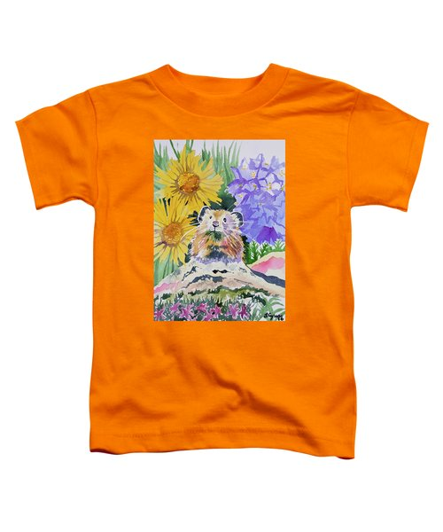 Watercolor - Pika With Wildflowers Toddler T-Shirt