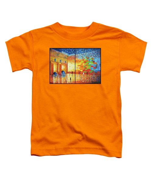 Toddler T-Shirt featuring the painting Western Wall Jerusalem Wailing Wall Acrylic Painting 2 Panels by Georgeta Blanaru