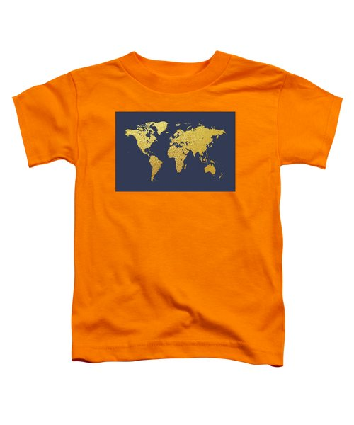 World Map Gold Foil Toddler T-Shirt