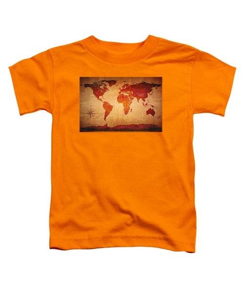 World Map Grunge Style Toddler T-Shirt