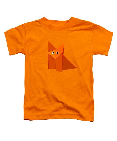 Yellow Cute Origami Fox Toddler T-Shirt by Boriana Giormova