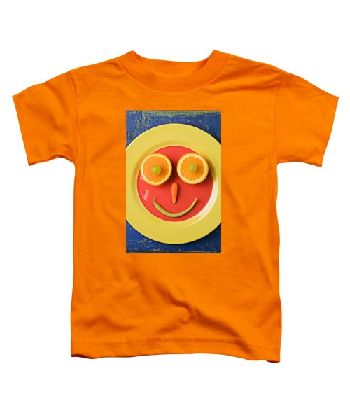 Yellow Plate With Food Face Toddler T-Shirt by Garry Gay