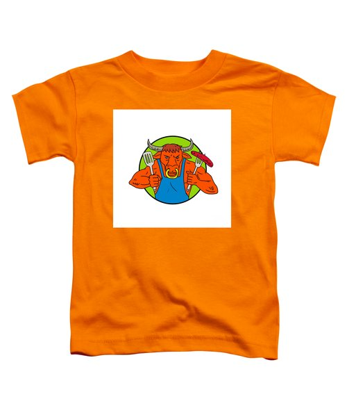 Bull Holding Barbecue Sausage Drawing Color Toddler T-Shirt