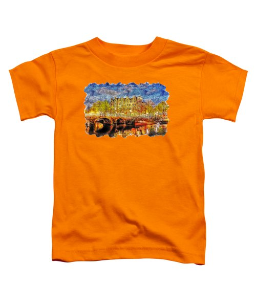 Cityscape Watercolor Drawing - Amsterdam Toddler T-Shirt