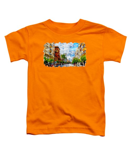Cityscape Watercolor Drawing - Spain Road Toddler T-Shirt