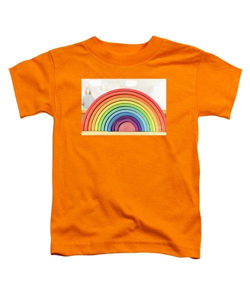 Colorful Waldorf Wooden Rainbow In A Montessori Teaching Pedagogy Classroom. Toddler T-Shirt
