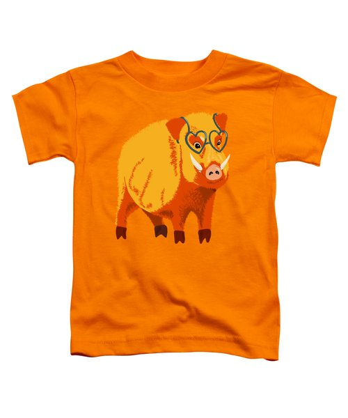 Cute Boar Pig With Glasses  Toddler T-Shirt
