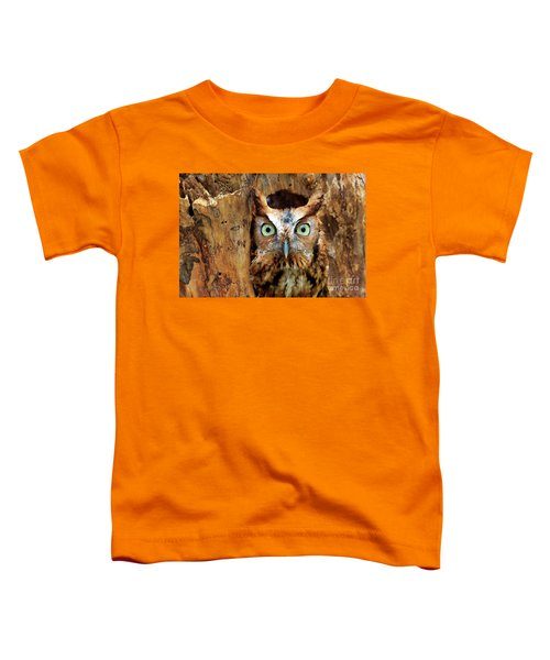 Eastern Screech Owl Perched In A Hole In A Tree Toddler T-Shirt
