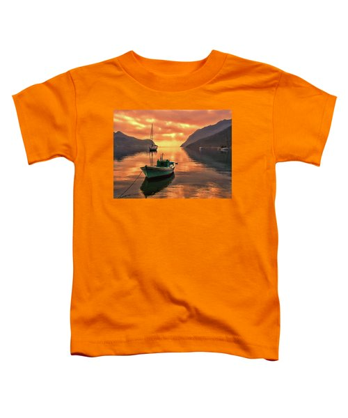 Fishing Boats At Sunset Simi Greek Islands-dwp40406001 Toddler T-Shirt