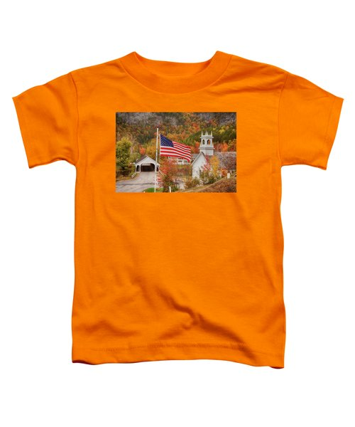 Flag Flying Over The Stark Covered Bridge Toddler T-Shirt
