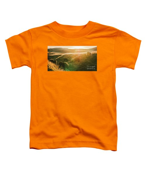 Icelandic Landscapes, Sunset In A Meadow With Horses Grazing  Ba Toddler T-Shirt
