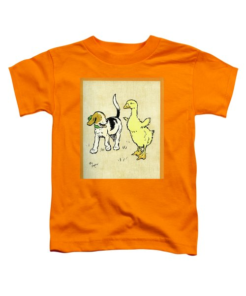 Illustration Of Puppy And Gosling Toddler T-Shirt