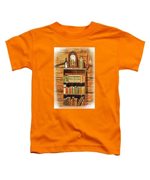 Log Cabin Book Case Sketched Toddler T-Shirt
