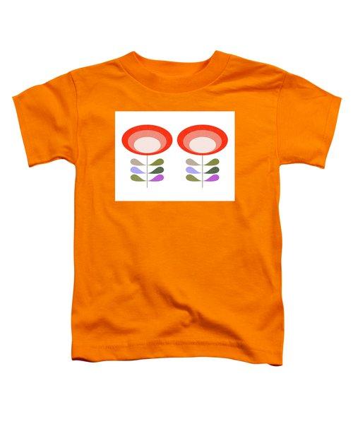 Mid Century Modern Orange Flowers II Toddler T-Shirt